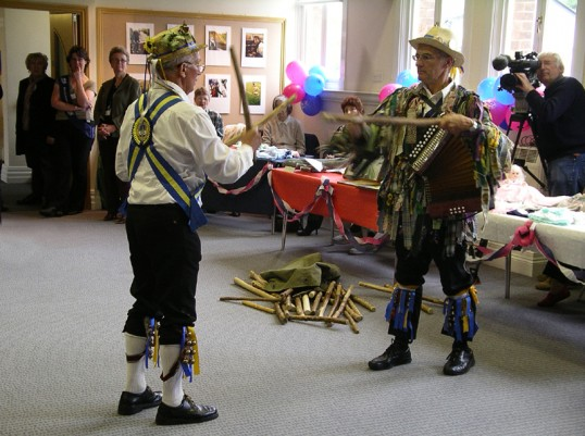 Battle of the sticks.  Morris men sort their weapons at Chatteris 'Age Concern' presentation in March Town Hall.