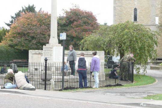 Chatteris Army Cadets repaint the town war memorial surrounds.