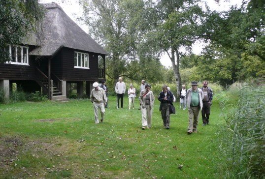 Chatteris Museum Society members leave Rothschild bungalow, Woodwalton.