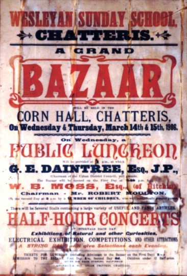 Church Bazaar poster found in 2001 decorating the ceiling of what was the print shop of Aspinalls printers of Chatteris.
