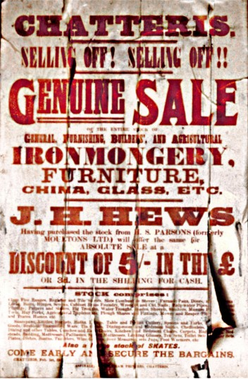 Auction poster for sale of goods from Moulton's Hardware shop, Chatteris found in what was Aspinalls print shop in 2001