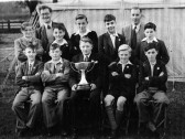 Teachers and boys of Cromwell School Young Farmers Club. Isle of Ely Agriculture show, Manor Park Chatteris. Photo from Reg Wenn.