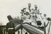 """King & Queen"" on float in Chatteris coronation parade. Uploaded for Mrs Watkinson at ""At home"" presentation."