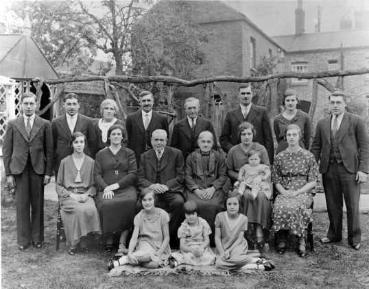 Some members of the Rickwood family in the garden of their home Burnsfield House, Chatteris. Photo from Alan Rickwood.