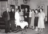 Staff in the foyer of the Empress Cinema, Chatteris. Presentation of wedding present to (possibly) Miss Johnson.