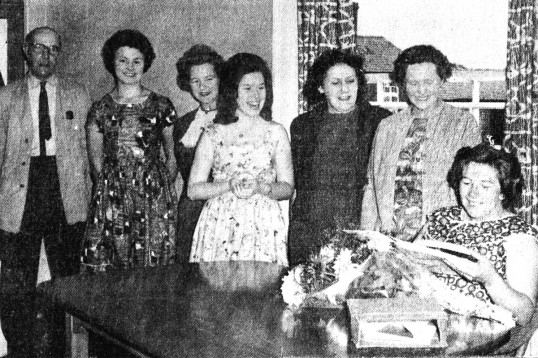 Local newspaper photo of presentation to Florence Newell on her leaving the Chatteris Telephone Exchange. Chatteris museum photo. See audio texts.