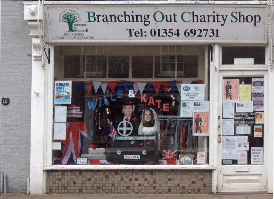 Branching Out shop, High St, Chatteris, decorated for wedding of Prince William & Catherine Middleton. Designated Duke & Duchess of Cambridge