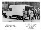 Leavesley staff try out the Transvault Pay Office body built on Landrover chassis at Honeysome Road, Chatteris, factory. Photo from David Jackman.