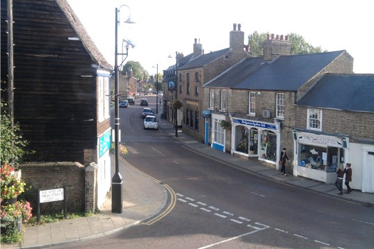 High Street and Market Hill, Chatteris from Bramley House upper window.