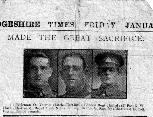 Press report of deaths of George Clare & George Sneesby of Chatteris. George died in action Nov 29 1917 & was awarded posthumous VC.