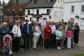 Crowd assembled for Chatteris Community Archive Town Walk, at War Memorial.
