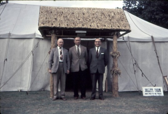 Chatteris Trade Fair. Group standing outside 'Jollity Farm ' Marquee.Photo by Mr E J Tilley