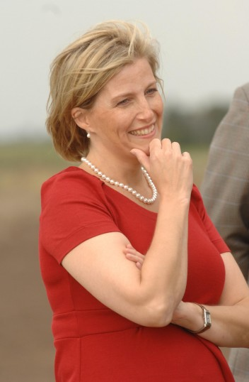 Sophie, Countess of Wessex, on visit to Westmoor Farm, ChatterisPhotograph reproduced by kind permission of Fenland Citizen