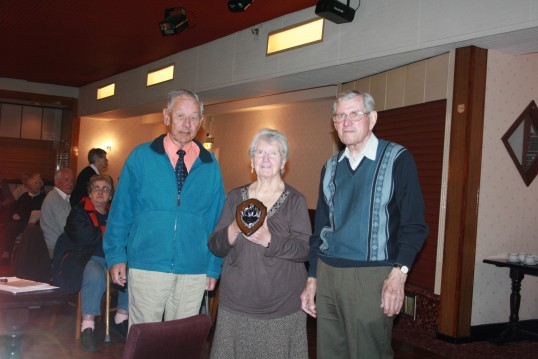 Good Companions Quiz team, showing Trophy won at March Library, Age Concern annual Fenland Quiz.  Patrick Druce, Barbara & Leonard Cudmore.
