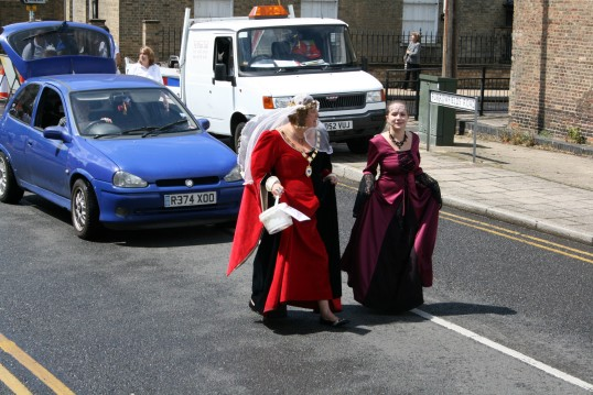 Chatteris Mayor Sue Elam and Lynne Sharper head up the parade.