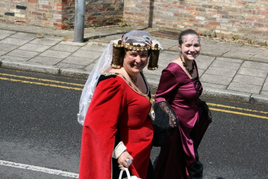 Chatteris Mayor Sue Elam and Lynne Sharper on parade at the Medieval Festival,