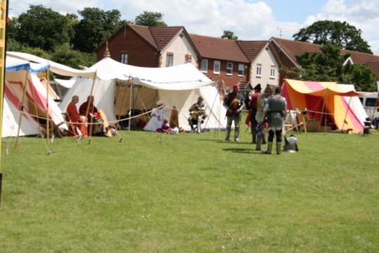 Encampment site for re-enactors at Chatteris Medieval Festival, on Furrowfields park, Chatteris