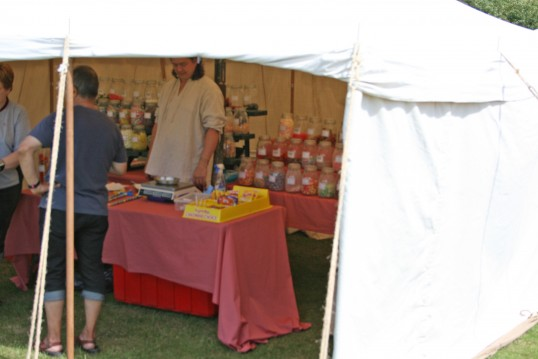 Chatteris Medival Festival, Ye olde sweet stall, on Furrowfields Park, Chatteris
