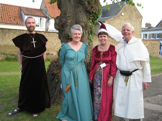 Chatteris Archive members, in the spirit of the occasion, prior to the Chatteris Archive Town Walk, at start of Chatteris Medieval Festival weekend.
