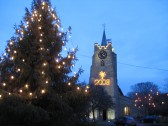 Saint Peter & Saint Pauls Church Chatteris, with Church Christmas tree, taken in evening.