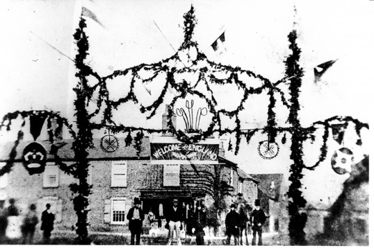 The Old Bakery, Chatteris,when the building was a Butchers shop. Crowds gather to celebrate the marriage of the Prince of Wales in 1863.
