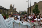 Chatteris Medieval festival parade, marching along High Street, Chatteris.