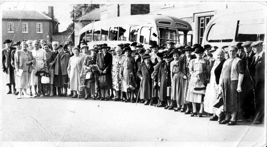 Waiting to board the Coach in Chatteris, for a days outing, from the Alan Rickwood collection.