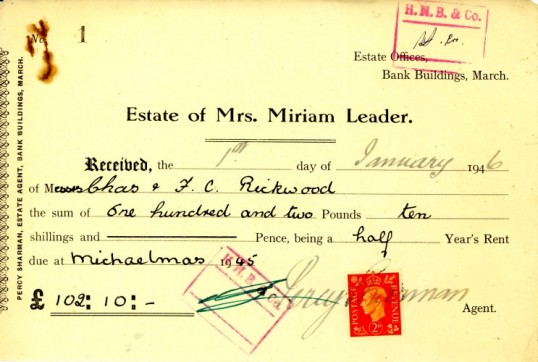 Receipt for the rent paid to the Estate of Mrs Miriam Leader, dated 1st January 1946.From the Alan Rickwood collection.