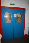 Doors to upper level of old Empress Cinema building Chatteris, See 1964 photos of conversion to swimming pool.