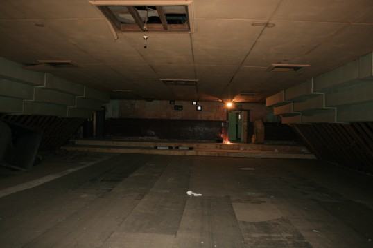 Looking back to the Projection room of the old Empress Cinema, Chatteris.See text for more information and 1964 conersion to swimming pool photos.