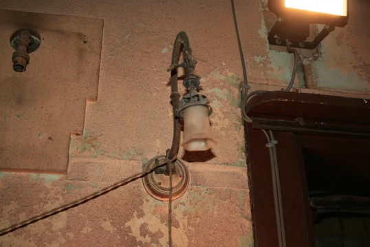 Gas light in old Empress Cinema, Chatteris.See text for more information.