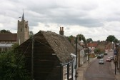 Chatteris High Street with view of Chatteris Church, taken from Bramley House, Chatteris.