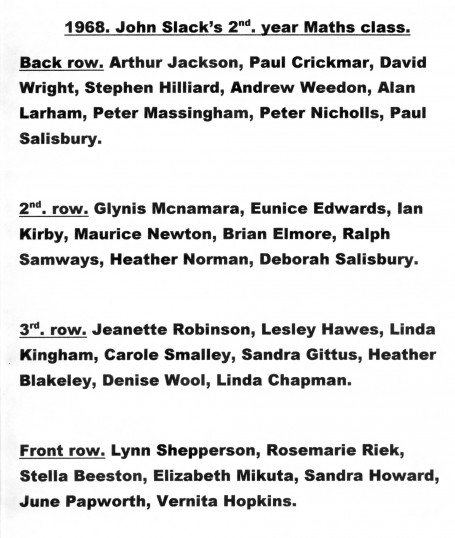 Pupil names for Mr. J. Slack's 2nd. Year maths Class. 1968, Cromwell Comprehensive School Chatteris.