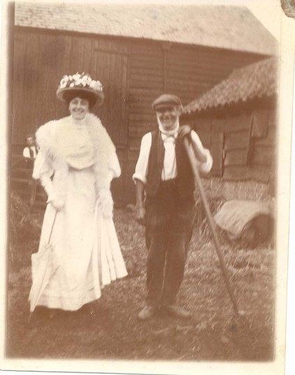 Susie Bishop with her father, Charles Bishop, horsekeeper/groom.  Charles was living in Moxon's Yard, Chatteris in 1881 and Black Horse Lane in 1901.