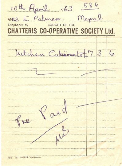 Chatteris Co-operative Society Ltd. receipt for kitchen cabinets, 1963.