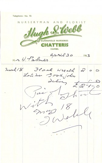 Hugh S. Webb, Burnsfield Nurseries, Chatteris, Nurseryman & Florist.  Receipt for floral wreath.