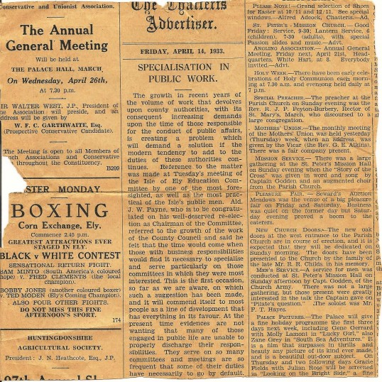Newsaper clipping, reverse of Charles and Frank Papworth invention story, Chatteris Advertiser
