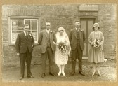 Wedding Party pictured outside Three Pots, Chatteris