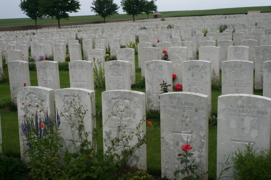 The Grave of Chatteris WW1 Soldier Arthur Austin, Ovillers Military Cemetery