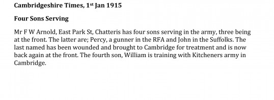 Cambridgeshire Times 1st January 1915, Four Arnold Brothers Serving in WW1