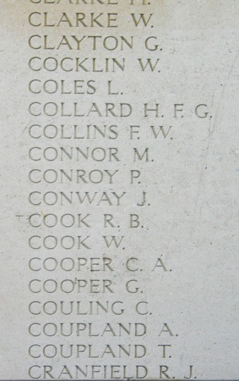 Chatteris WW1 Soldier George Cooper's Name on The Menin Gate in Ypres