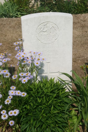 Grave of Chatteris World War One Soldier, John Edgley (40129), Rocquigny-Equancourt Road Cemetery, Somme