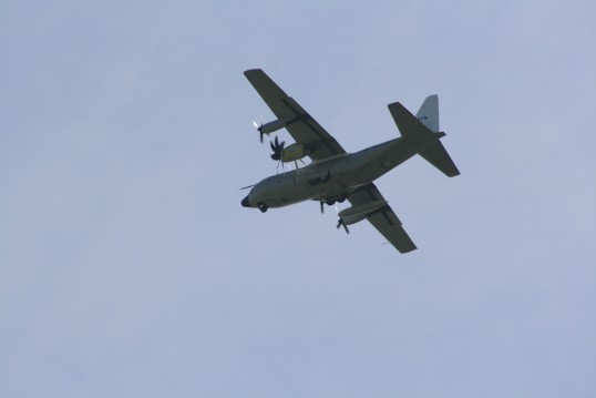Aircraft. Lockheed Hercules C130 over Chatteris