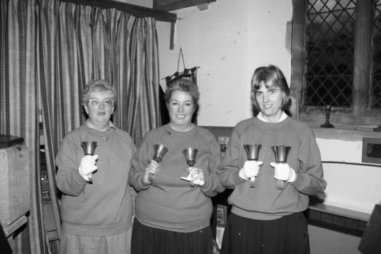 Handbell ringing in Chatteris Parish Church. From the Stuart Stacey Collection