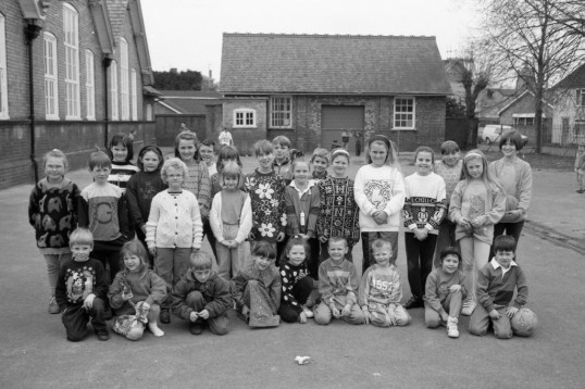 School children outside  Chatteris school - Stuart Stacey Collection