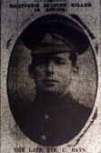 Chatteris WW1 Soldier Charles Bays (12484). Chatteris Remembers Biography