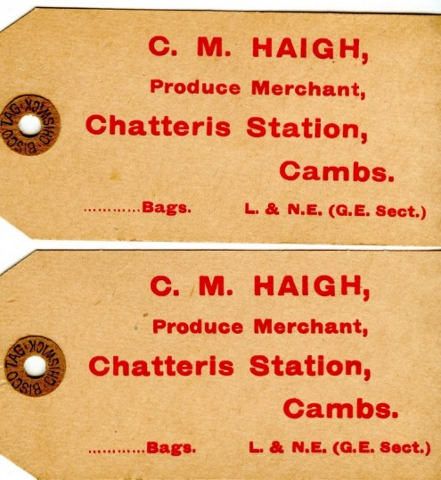 Labels for produce transported for Cyril Haigh