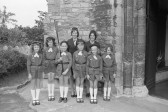 6th Brownies Group Parade outside  St Peters & St Pauls Church-Stuart Stacey Collection