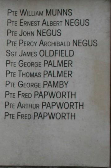Chatteris WW1 Soldier Thomas Palmer (201443). Chatteris Remembers Biography
