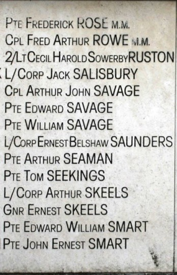 Chatteris WW1 Soldier Ernest Skeels 174400. Chatteris Remembers Biography